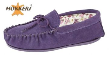 Ladies Real Suede Leather Moccasin with Hard-wearing Sole  PURPLE